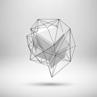 Белая абстрактная форма с низкополигональной многоугольной треугольной мозаичной текстурой и реалистичной тенью