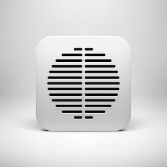 Белый абстрактный технологический шаблон кнопки значка приложения с круговой перфорированной решеткой динамика