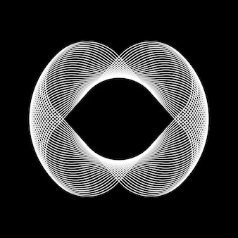 로고 디자인 개념 및 포스터에 대한 검정색 배경이 있는 흰색 추상 기술 프랙탈 모양