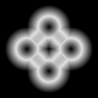 로고 디자인 개념을 위한 광선 및 검정색 배경이 있는 흰색 추상 기술 모양