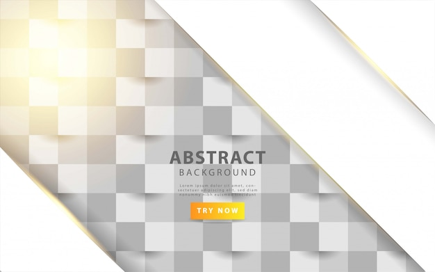 White  abstract texture. vector background 3d paper art style with golden line