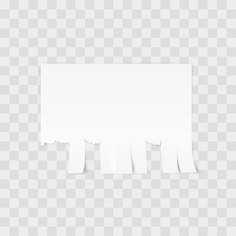 White advertisement tear-off paper template on white background