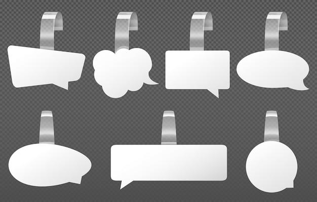 White advertising wobblers, speech bubbles