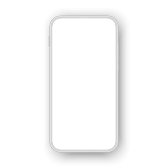 White air cellphone mockup isolated on white background.