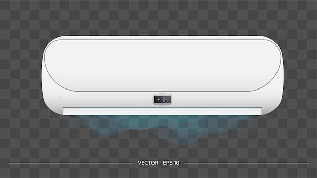 White air conditioner emits cold 3d. realistic air conditioner vector.