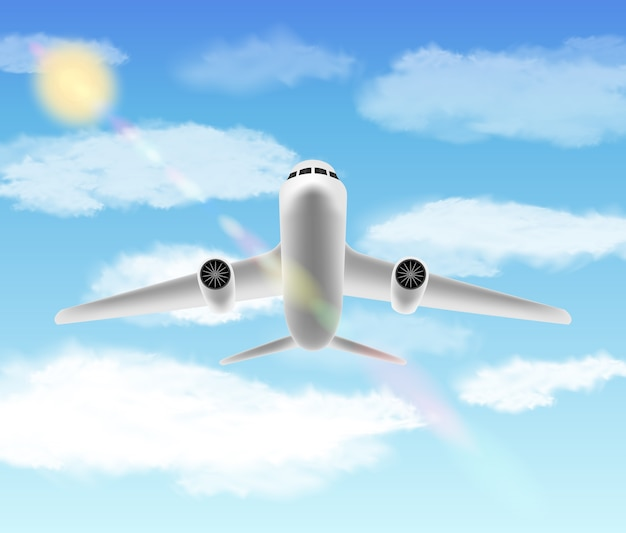 White airplane flying with bright sky background
