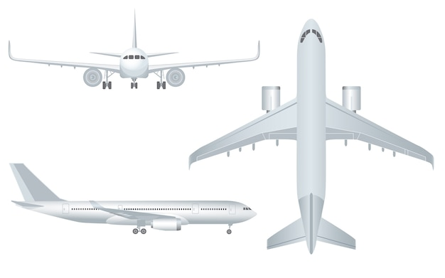 Белый самолет в профиль и спереди