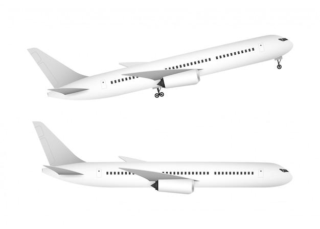 分離されたプロファイルで白い背景に白い飛行機。ベクトルストックイラスト