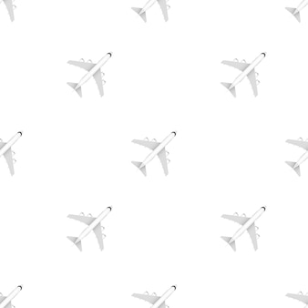 White airplane pattern on a white background. vector stock illustration.