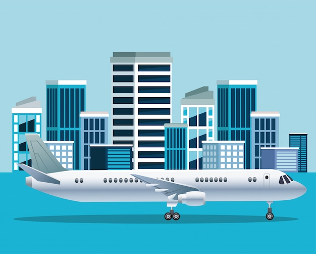 White airplane transport in the airport cityscape scene illustration
