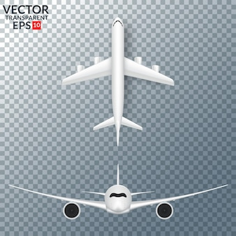 White airplane with shadow set isolated vector illustration