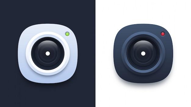 Белые и черные значки камеры
