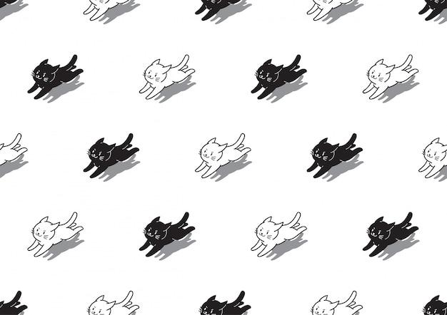 白と黒の猫のシームレスなパターン背景