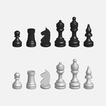 흰색과 검은 색 체스 세트