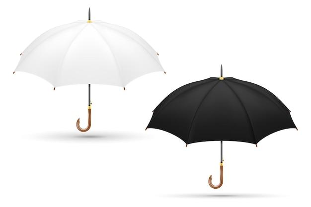Белый и черный классический зонт от дождя, изолированные на