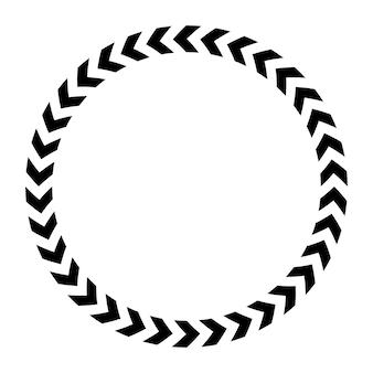 흰색과 검은색 위험 라운드 테이프 프레임 흰색 배경에 고립.