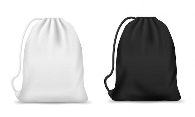 흰색과 검은 색 드로 스트링 백 또는 백팩 모형