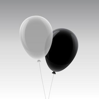 흰색과 검은 색 비행 풍선 이랑 디자인