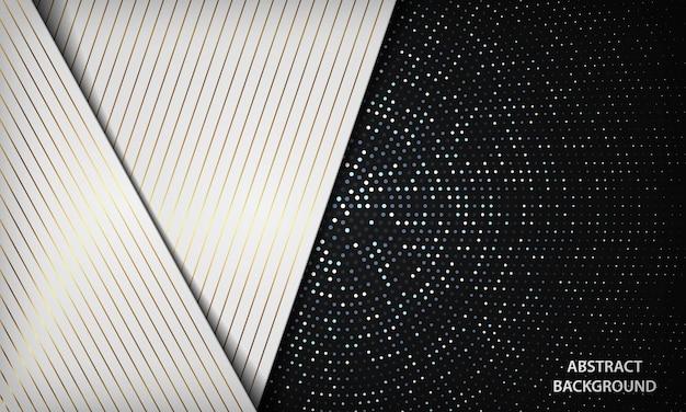 ハーフトーンの装飾が施された白と黒の金色の線の豪華な背景
