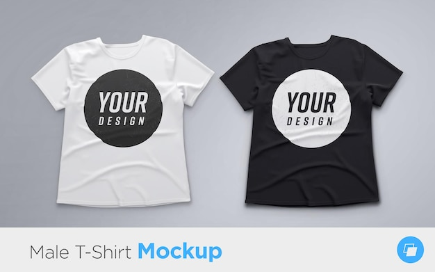 흰색과 검은 색 남성용 티셔츠 세트