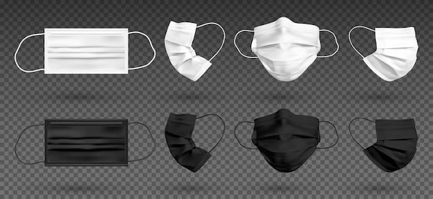 흰색과 검은색 모의 보호용 얼굴 마스크 또는 의료용 마스크. 코로나바이러스와 감염을 보호하기 위해. 투명 한 배경에 고립 된 의료 마스크 세트입니다.