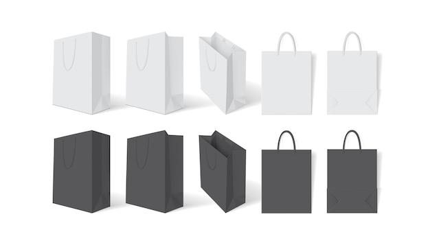白地に白と黒の紙袋