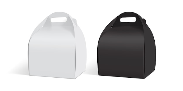 흰색과 검은 색 종이 상자 흰색 배경에 고립