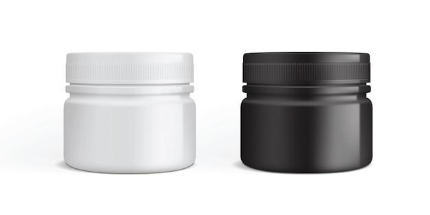 Белая и черная пластиковая упаковка для крема изолирована