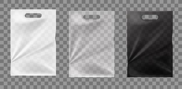 Белые и черные полиэтиленовые пакеты, изолированные макет целлофановые прозрачные пакеты