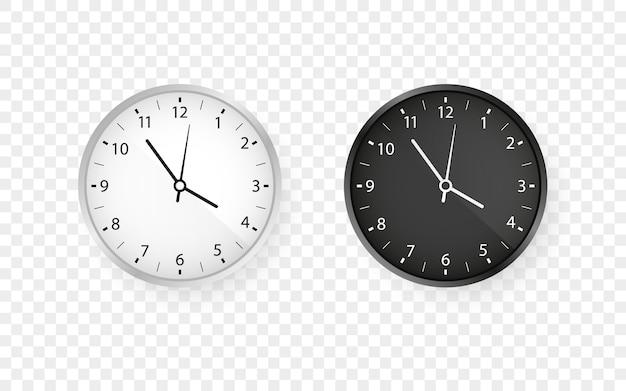 白と黒の丸い壁のオフィス時計セット