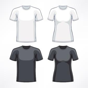 男性と女性のための白と黒のtシャツ