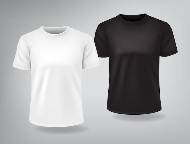 짧은 소매가 달린 흰색과 검은 색 티셔츠는 모의
