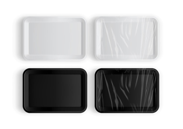 흰색 절연 음식에 대 한 흰색과 검은 색 트레이 포장