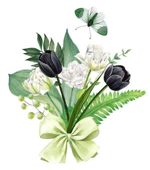 녹색 활과 흰색과 검은 색 튤립 꽃다발