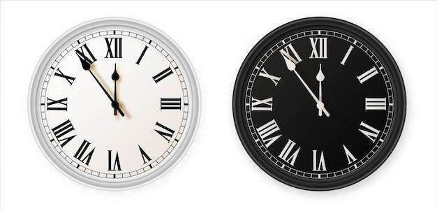 Белые и черные настенные офисные часы значок набор. дизайн шаблона крупным планом в г. для брендинга и рекламы на белом фоне.