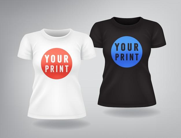 半袖の白と黒の女性用tシャツ、モックアップ、プリントの場所