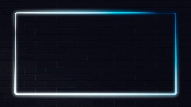 어두운 배경 벡터에 흰색과 파란색 네온 프레임