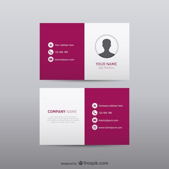 White and burgundy business card