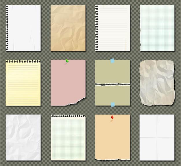 Белые и красочные бумажные листы на прозрачном фоне.