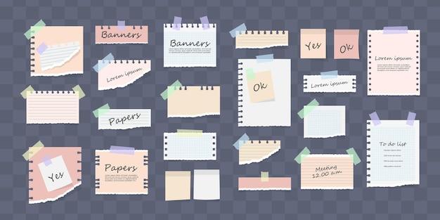 Белые и красочные полосатые записки, тетрадь, тетрадный лист