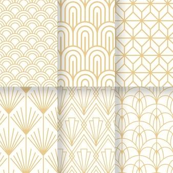 アールデコのシームレスパターンの白と金のコレクション