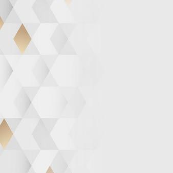 白と金の幾何学模様の背景ベクトル