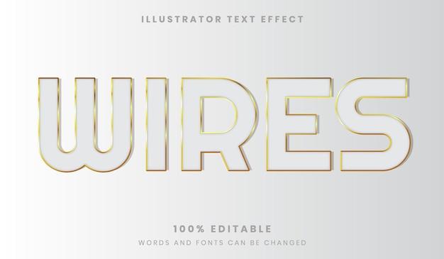 흰색과 황금색 편집 가능한 텍스트 효과