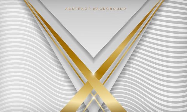 白と金色の線三角形の背景3dスタイルの豪華なコンセプト