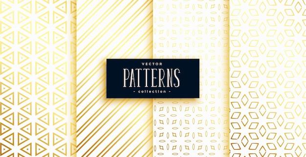白と金色のモダンな幾何学的形状パターンセット4