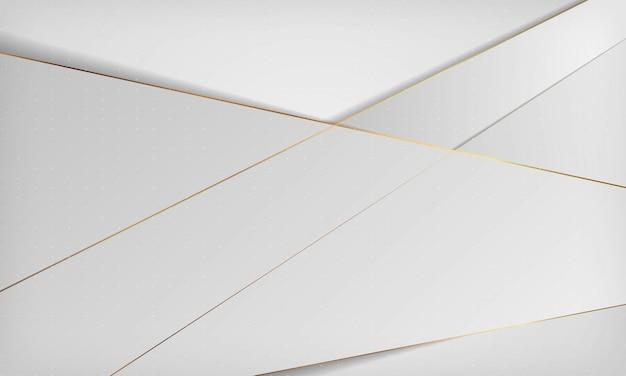 황금 선으로 흰색과 회색 추상 럭셔리 배경.