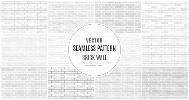 白とグレーのブロックレンガの壁のシームレスなパターンコレクションは、テクスチャ背景を設定します。