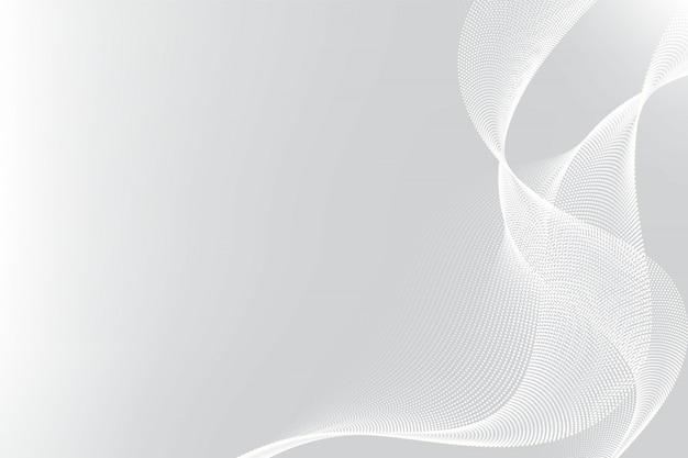 Белые и серые частицы линия волны абстрактный фон современный дизайн