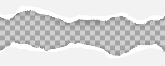 웹 및 인쇄, 광고, 프레 젠 테이 션에 대 한 텍스트, 찢어진 및 찢어진 종이 줄무늬, 찢어진 조각, 배너 디자인 서식 파일에 대 한 공간을 가진 흰색과 회색 현실적인 가로 종이 스트립.
