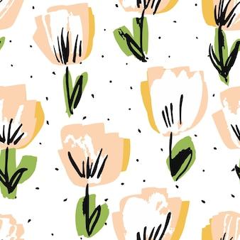 白とピンクの花フェルトペンベクトルシームレスパターン。牡丹の庭の背景。結婚式の図面の壁紙。ロータスビューティフルテンプレート。